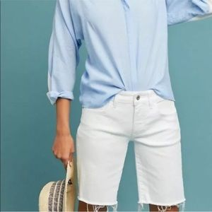 Anthropologie white cut off shorts